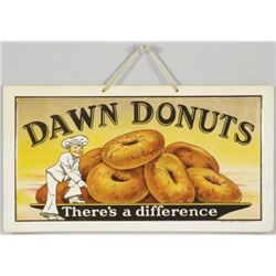 Dawn Donuts Beveled Celluloid Flange Sign