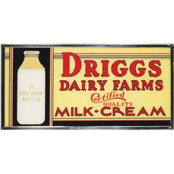 Driggs Dairy Farms Glass Sign