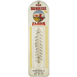 Sunrise Flour Tin Advertising Thermometer