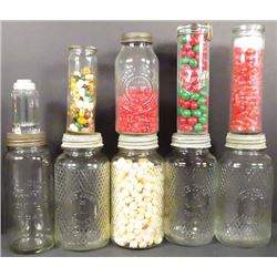 Collection of Embossed Glass Store Jars