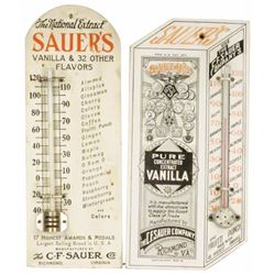 Two Sauer's Wood Thermometers