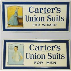 Carter's Union Suits Tin Over Cardboard Signs