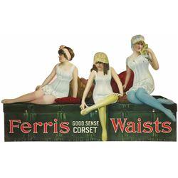 """Rare Ferris """"Good Sense Corset"""" Die Cut Tin Sign"""