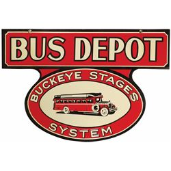 Bus Depot  Buckeye Stage  System Porcelain Sign
