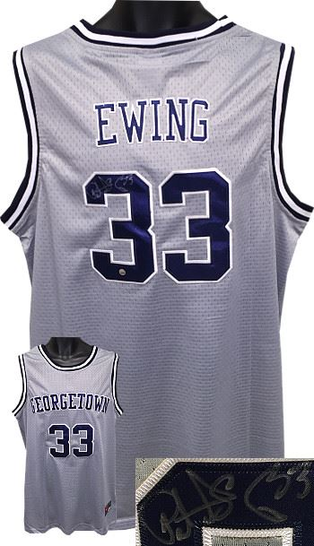 hot sale online e7835 90fd3 Patrick Ewing Signed Georgetown Hoyas Grey Nike TB Jersey XL- Steiner  Hologram