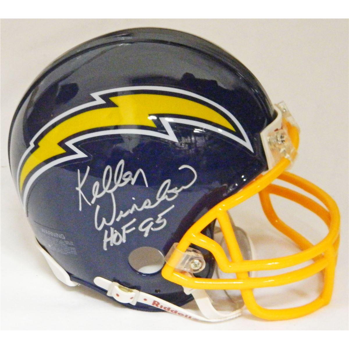 brand new 74835 9fcd8 Kellen Winslow Signed San Diego Chargers Throwback Navy Riddell Mini Helmet  W/HOF 95