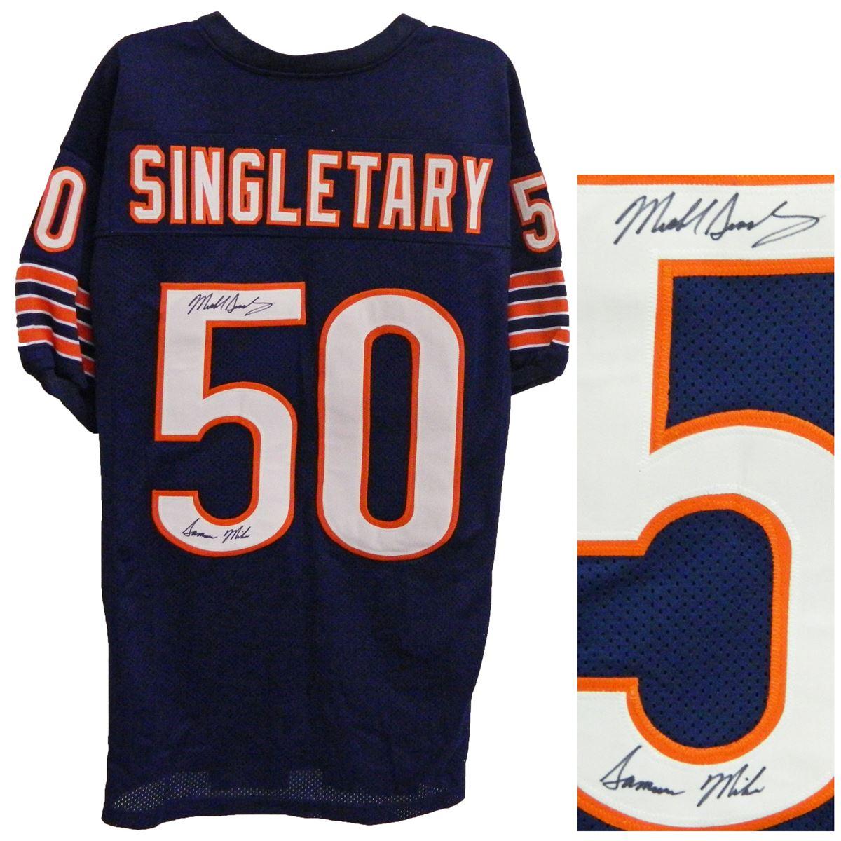 premium selection 54601 38bbc Mike Singletary Signed Navy Custom Throwback Jersey W/Samurai Mike