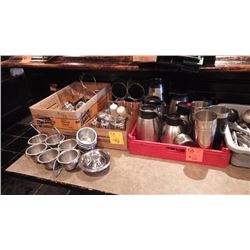 1 BOX OF TEA POTS / CONDIMENT CONTAINERS AND COFFEE SERVING POTS