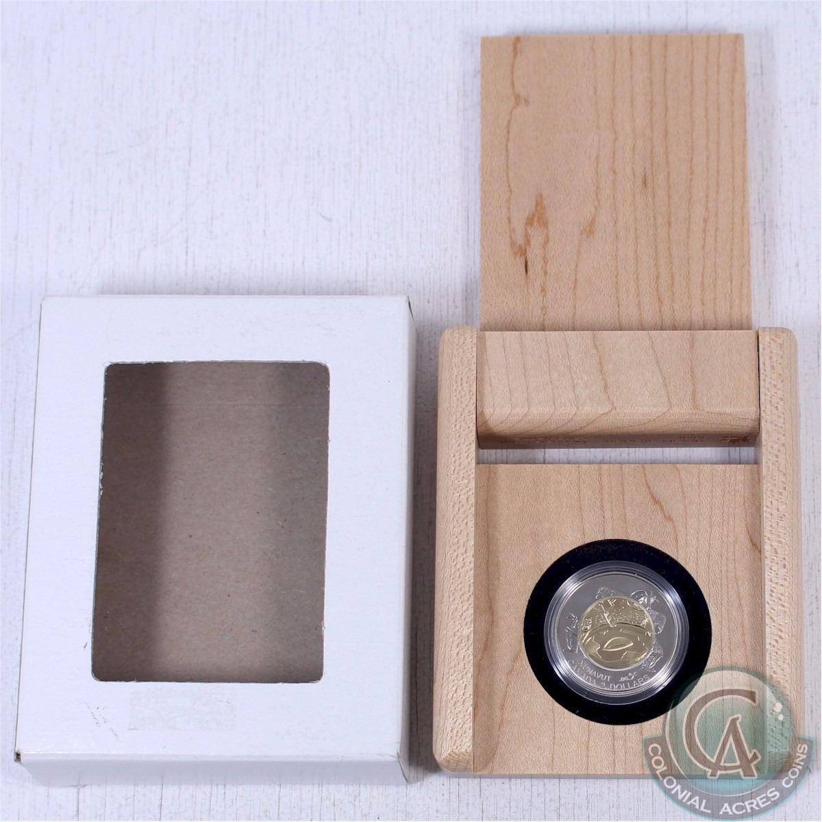 1999 Canada 2 Nunavut Specimen Toonie In Wooden Display Box