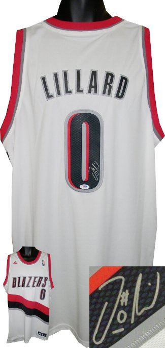 detailed look 25014 20636 Damian Lillard Signed Portland Trailblazers White Authentic Adidas Swingman  Jersey- PSA Hologram