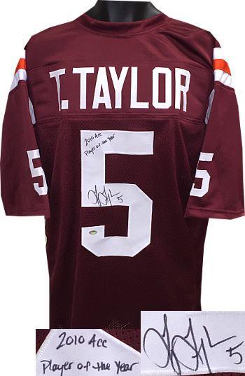detailed pictures 435b2 404e9 Tyrod Taylor Signed Virginia Tech Hokies Maroon Custom ...