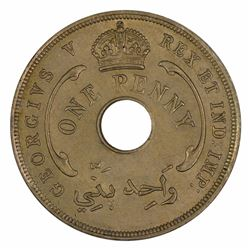 British West Africa 1929 Penny, Lightly toned - Choice Uncirculated