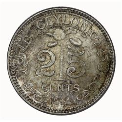 Ceylon 1914 25 Cents, Lightly toned - Gem