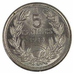 Chile 1928 5 Centavo, Lustrous Gem