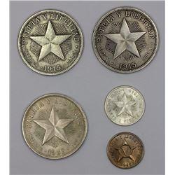 Cuba 1915 Silver Peso (2), VG & Fine, 1933 Silver Peso, Extremely Fine,  1949 20 Centavos, Uncircula