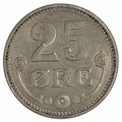Denmark 1922 25 Ore, Virtually Uncirculated