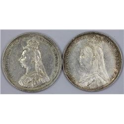 Great Britain Victoria 1887, Extremely Fine  & 1891, good Extremely Fine Shillings, (2 coins)