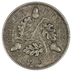 Great Britain George V 1931 Threepence, Toned - Choice Uncirculated