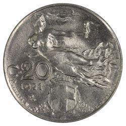 Italy 1921 R 20 Centesimi, Lustrous Gem