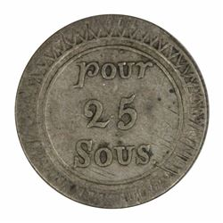 Mauritius (1822) 25 Sous, about Extremely Fine