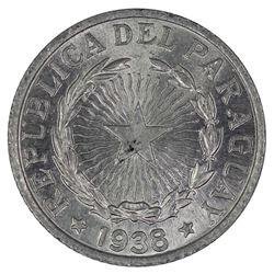 Paraguay 1938 2 Pesos, Brilliant Uncirculated