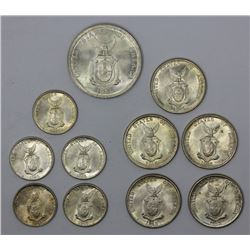 Philipines 1945 D 5 Centavos (5), 1945 D 10 centavos (5), 1944 S 50 Centavos (1), All Brilliant Uncr