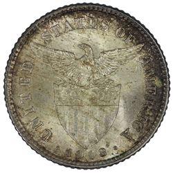 Philippines 1918 S 20 Centavos, Toned - Gem