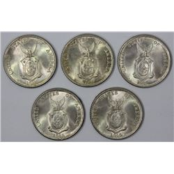 Philppines 1945 D 'Commonwealth' Silver 20 Centavos, All Gem (5 coins)