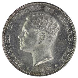 Portugal 1908 500 Reis, Lustrous Uncirculated