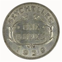 Seychelles 1939 Rupee, about Uncirculated