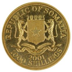 Somalia 2001 Gold (0.375) 1000 Shillings, Prooflike - Uncirculated