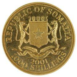 Somalia 2001 Gold (0.375) 1000 Shillings, Prooflike - Uncirculated