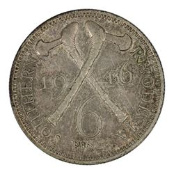 Southern Rhodesia 1946 Sixpence, Toned - about Uncirculated