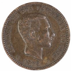 Spain 1879 5 Centimos, good Extremely fine