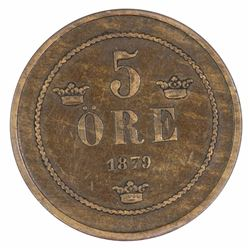 Sweden 1879 5 Ore, about Extremely Fine