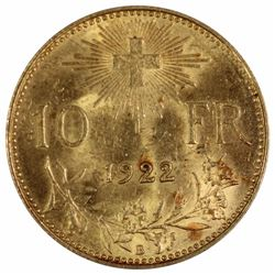 Switzerland 1922 B Gold 10 Francs, Uncirculated