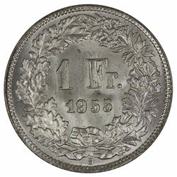 Switzerland 1955 B 'Specimen' Franc, Gem
