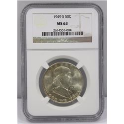 USA 1949 'S' Half Dollar, NGC MS63