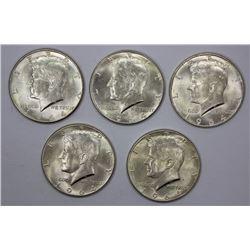 USA 1964 Silver (0.900) 50 Cents (5 coins)