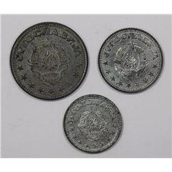 Yugoslavia 1945 Dinar, 2 Dinara & 5 Dinara (3 coins)