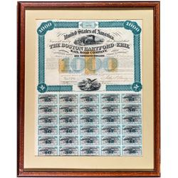 Boston Hartford & Erie Railroad Co. Bond (Revenue Imprinted) (Framed)