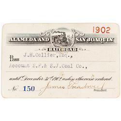 Alameda & San Joaquin Railroad Pass (1902) (Coal Mining)