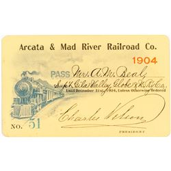 Arcata & Mad River Railroad Company Annual Pass (1904)