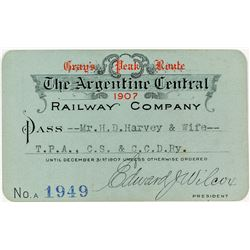 Argentine Central Railway Co. Annual Pass (1907) (Silver Plume to Waldorf, CO)