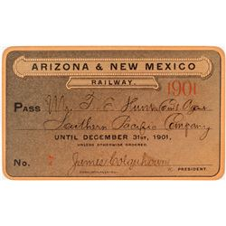Arizona & New Mexico Railway Annual Pass (1901)