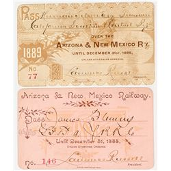 Arizona & New Mexico Railway Annual Passes (1888 & 1889)