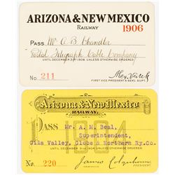 Arizona & New Mexico Railway Annual Passes (1904 & 1906)