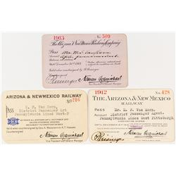 Arizona & New Mexico Railway Annual Passes (1912, 1913 & 1918)
