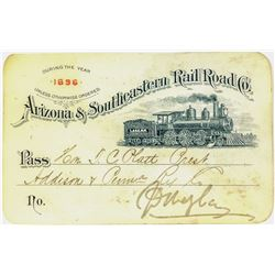 Arizona & Southeastern Railroad Co. Annual Pass (1896)