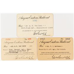 Arizona Eastern Railroad Annual Passes: 1911, 1915, and 1918
